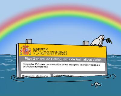 Un cartel del ministerio anunciando la construcción de un arca sobresale de entre el agua