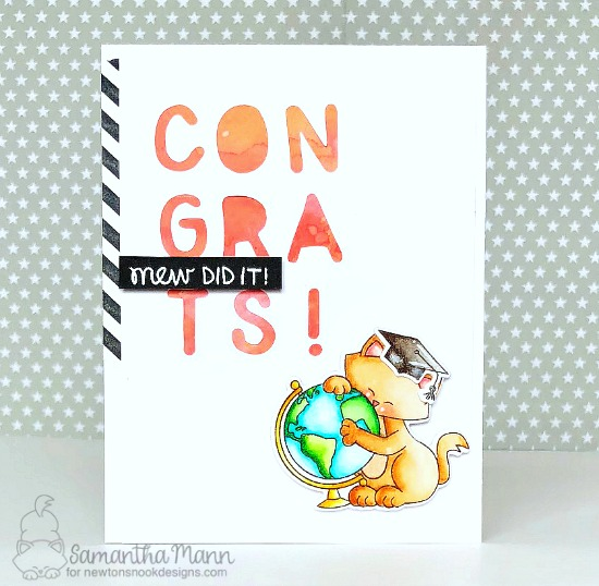 Graduation Card by Samantha Mann | Newton's Graduation Stamp Set and Essential Alphabet Die Set by Newton's Nook Designs #newtonsnook #handmade