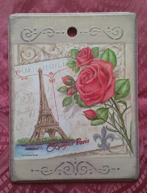 """Доска разделочная """"Привет Париж"""", декупаж."""