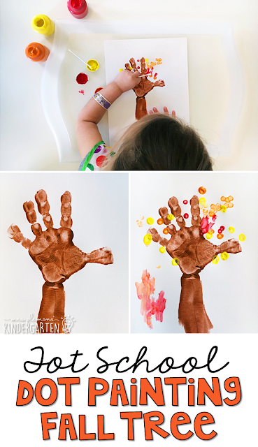 This dot painting fall tree is great for fine motor practice with a fall theme. Great for tot school, preschool, or even kindergarten!