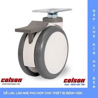 Bánh xe PU đôi CPT lắp tấm chịu tải trọng (80~100kg) www.banhxepu.net