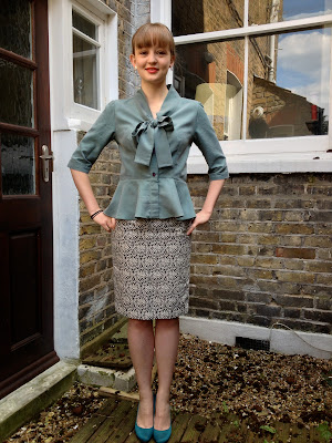 Diary of a Chainstitcher Mad Men Challenge Joan Holloway style Papercut Patterns La Sylphide blouse worn with By Hand London Charlotte Skirt sewing pattern