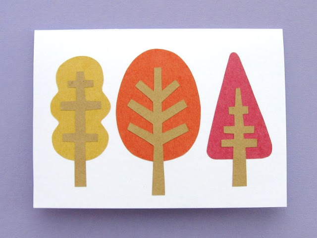 the finished autumn trees card