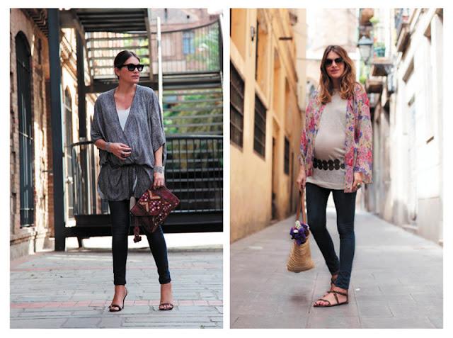 Беременная женщина в брюках и тунике