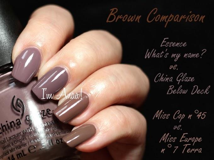 Comparison | Brown nail polishes.
