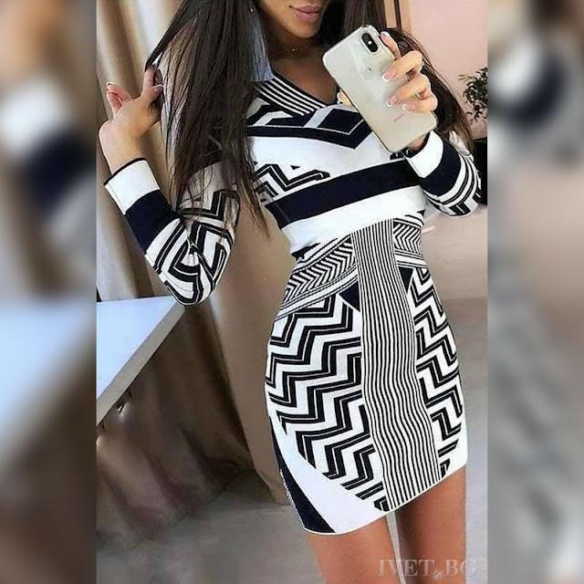 Μακρυμάνικο εντυπωσιακό κοντό  φόρεμα ALARA