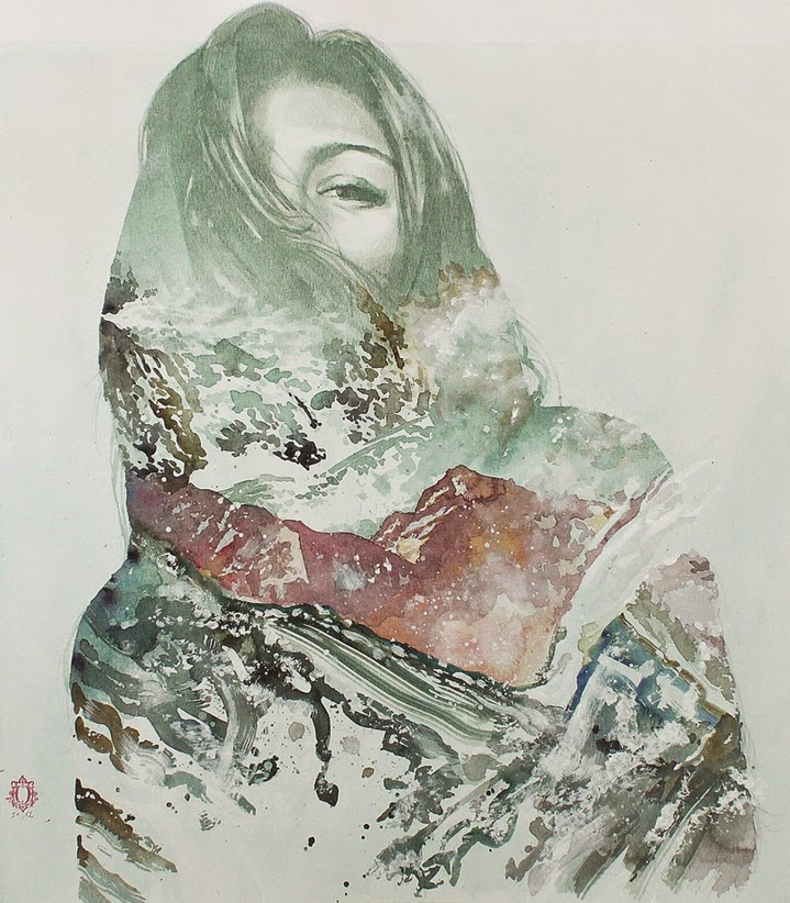 04-Oriol-Angrill-Jordà-Double Exposure-Watercolor-Paintings-www-designstack-co