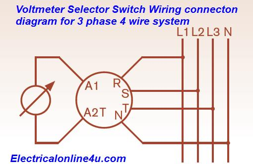 voltmeter selector switch wiring installation for 3 phase 4 wire rh electricalonline4u com wiring voltage selector switch voltage selector switch wiring diagram