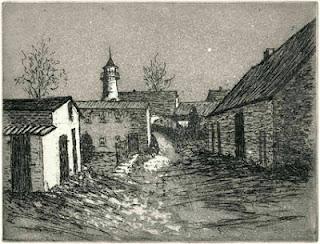 Hilmar Grey: Lotsenturm Karnin/ Usedom/Haff, Strichätzung, Aquatinta, 2012