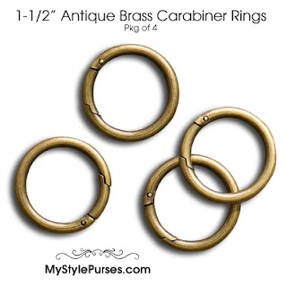 "1-1/2"" Antique Brass Carabiner Rings"