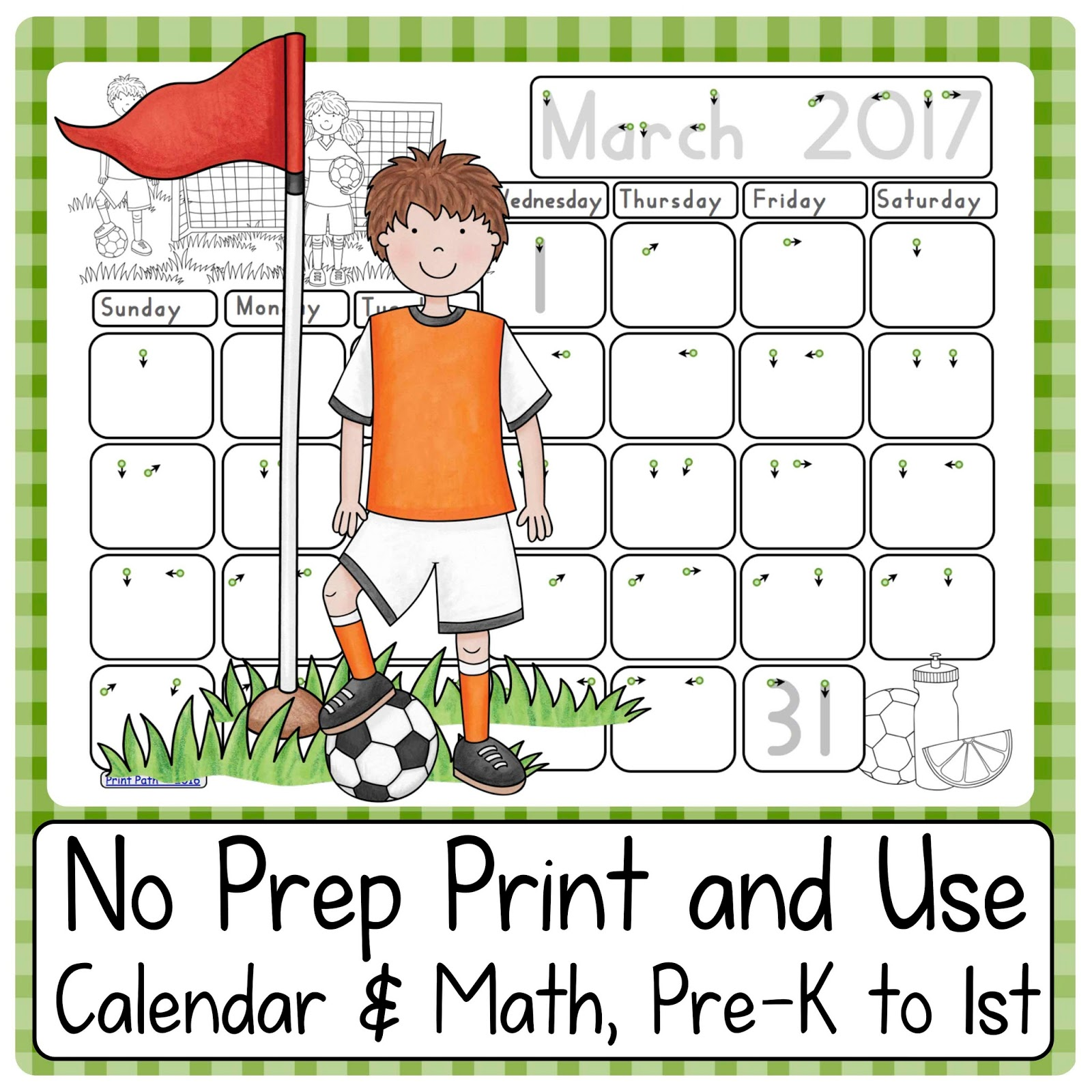 Capitals First By Print Path Using Calendars Number