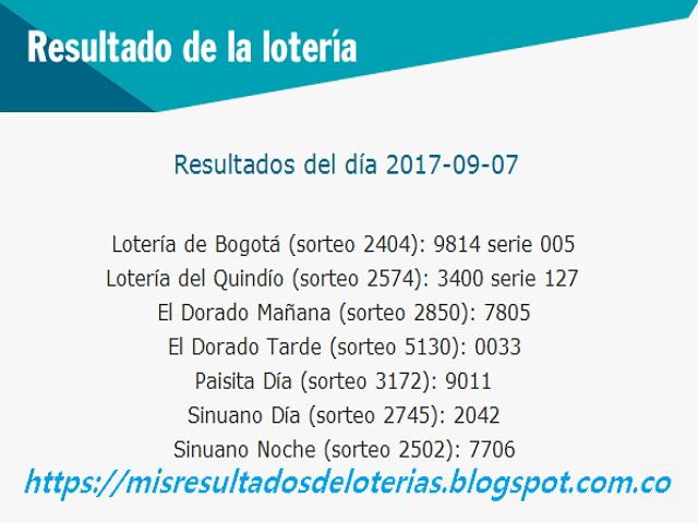 Como jugo la lotería anoche - Resultados diarios de la lotería y el chance - resultados del dia 07-09-2017