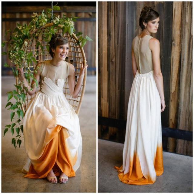 vestido de novia con color mostaza