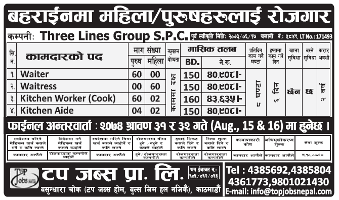 Jobs in Bahrain for Nepali, Salary Rs 43,635