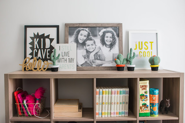 toy storage in a small playroom