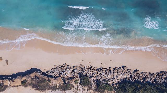Drone photo of Bali coastline