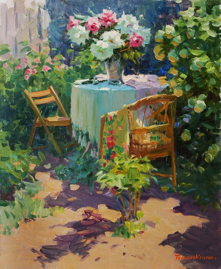 Im genes arte pinturas cuadros de jardines con flores - Oleos de jardines ...