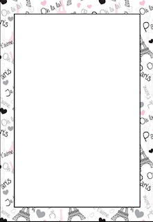 Paris Free Printable Frames, Invitations or Cards.