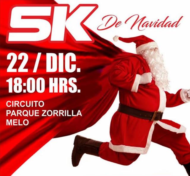 5k de Navidad en parque Zorrilla en Melo (Cerro Largo, 22/dic/2018)