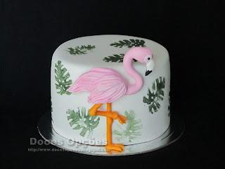 bolo decorado Flamingo