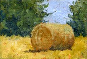 art painting landscape hay bale mini acrylic