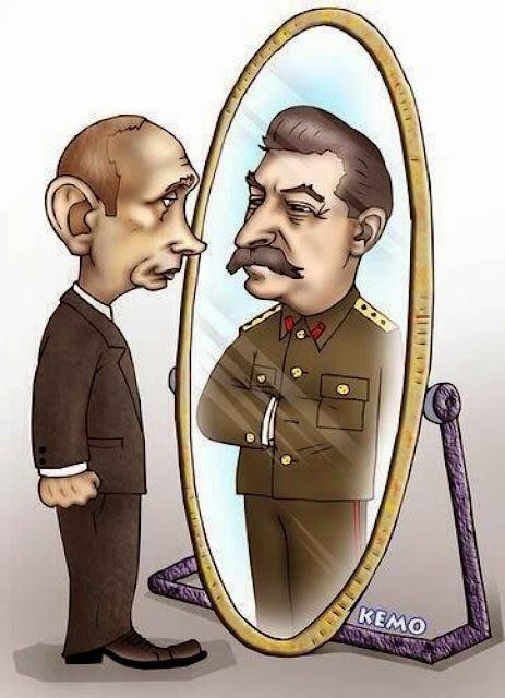 Putin e Stalin de um e outro lado do espelho