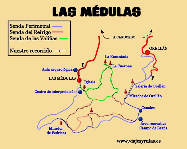 Mapa de Las Médulas