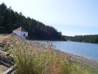 View of English Camp with blockhouse, San Juan Island