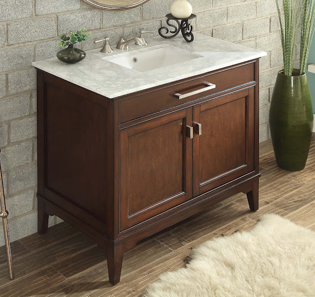 37 inch Contemporary Bathroom Vanity Constructed of Solid Wood