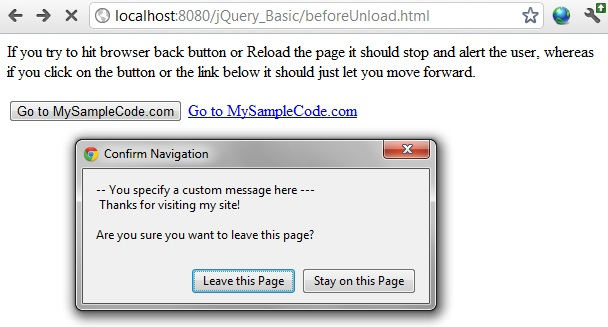 Programmers Sample Guide: jQuery STOP user from page exit