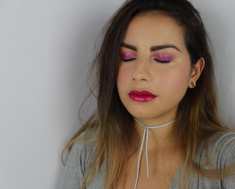 makeup look fotd swatch fuchsia pink fantasy pressed pigment eyeshadow colourpop cosmetics bite beauty radish lipstick amuse