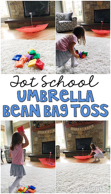 Learning is more fun when it involves movement! See how many bean bags you can toss into the umbrella with this fun weather themed gross motor activity. Great for tot school, preschool, or even kindergarten!