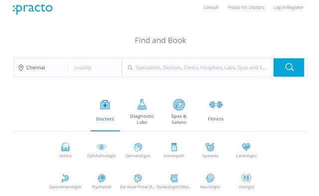 Practo Website homepage