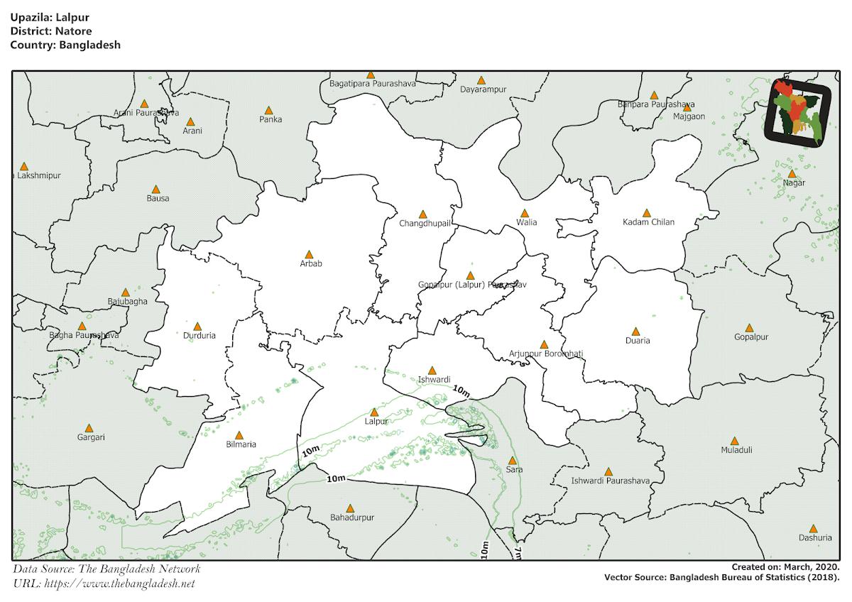 Lalpur Upazila Elevation Map Natore District Bangladesh