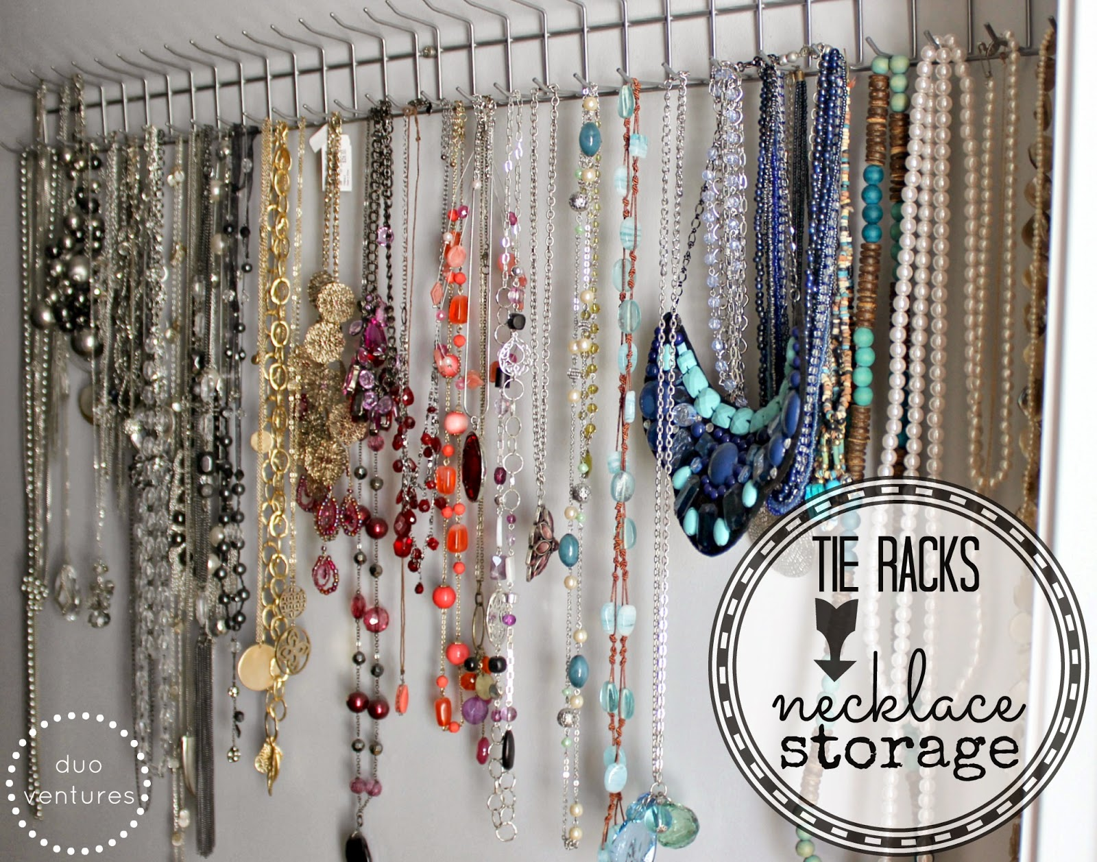 Right now, I am only using about half of the hooks - so there are plenty of  extra hooks to store any new necklaces that I might add to the collection.
