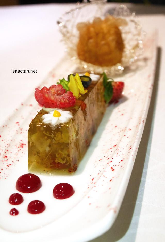 Golden potato with egg yolk custard and traditional alkaline cake