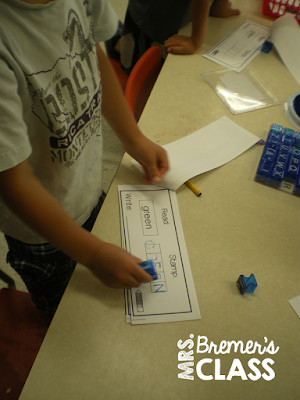 Read, stamp, & write sight words- a literacy center for all year long! A fun and hands on way to practice word work activities in the writing center. #kindergarten #1stgrade #sightwords #writing #centers #writingcenter #wordwork