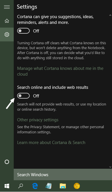 Disable Web search in Taskbar in Windows 10