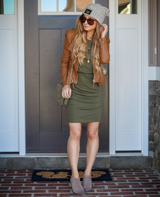 blanknyc leather jacket leith ruched dress i love your melon beanie