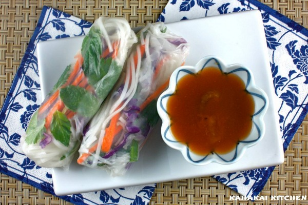 "Noodly Veggie Rolls with Spicy ""Sacred Peach"" Dipping Sauce"