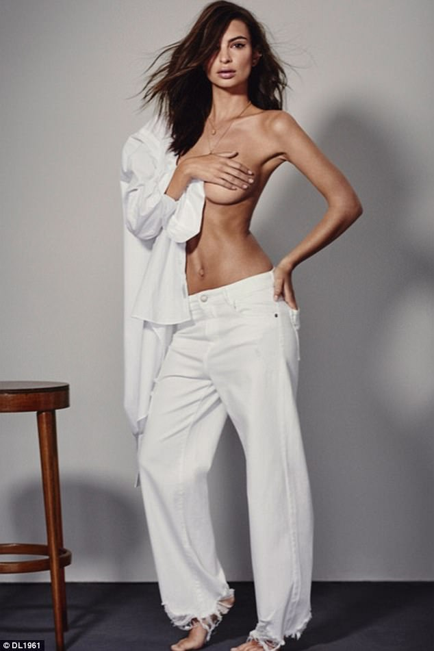 Emily Ratajkowski goes topless in stunning DL1961 campaign