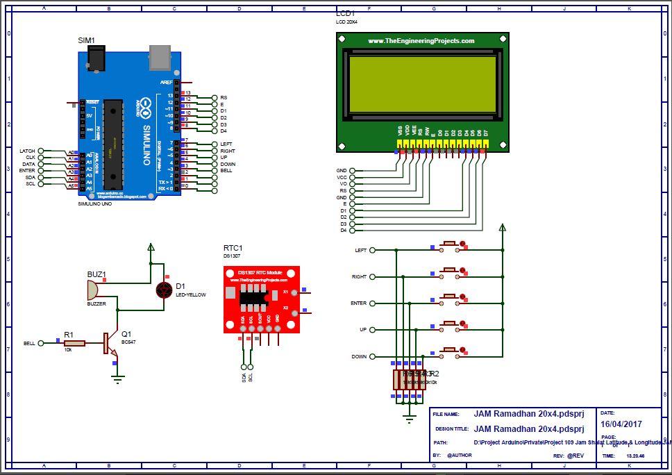 Jam + Jadwal Sholat Abadi LCD 20x4 Menggunakan Arduino Uno