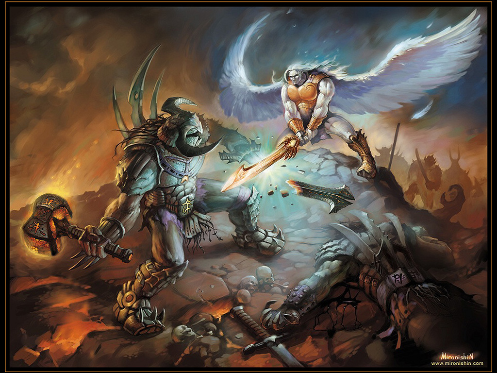 demons and angels fighting -#main