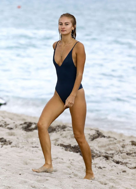Selena Weber in Blue Swimsuit