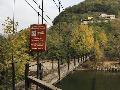 Suspended bridge over the Brembo River, below Clanezzo. The bridge is just over 74 meters long.