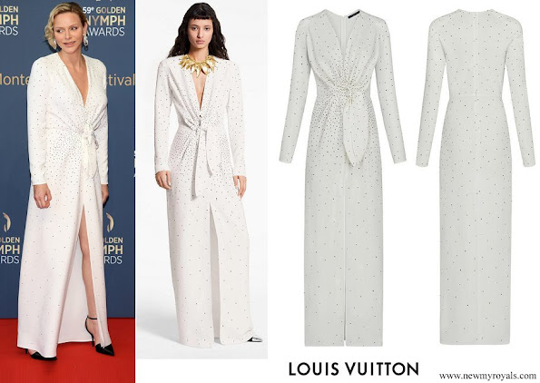 Princess Charlene wore Louis Vuitton long embroidered dress