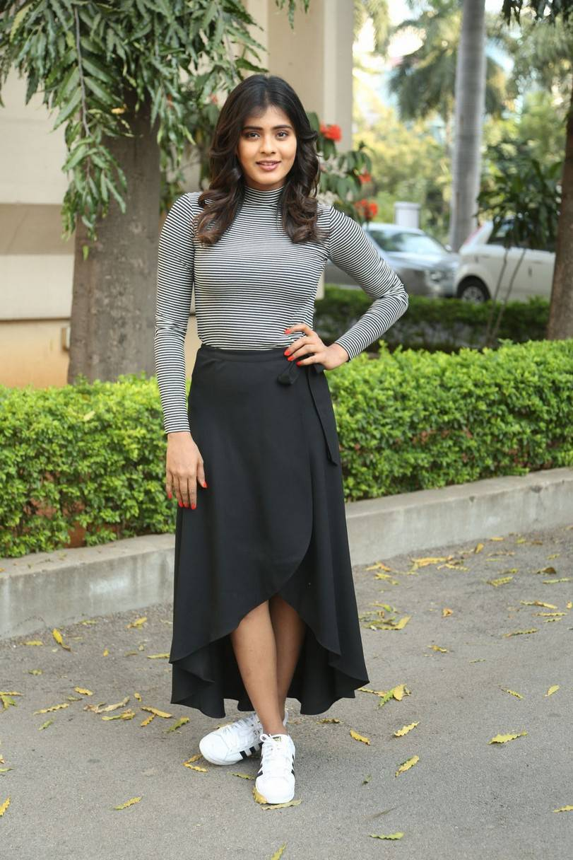 Hebah Patel At Movie Press Meet In Black Dress
