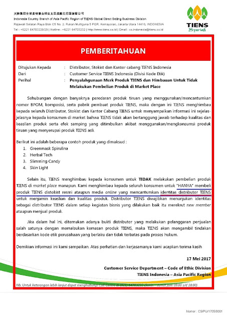 Surat Edaran Tiens Indonesia