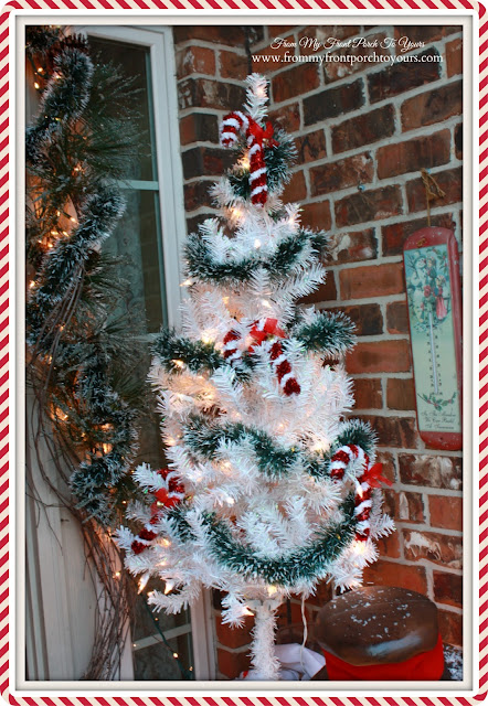 White Candy Cane Christmas Tree-Christmas Front Porch-From My Front Porch To Yours