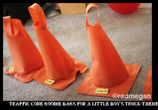 ba3078912fd toddler shoes run small Traffic Cone Goodie Bags for a little boy's  truck-themed b-day party!